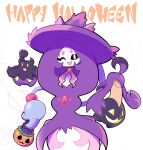 :d alternate_color artsy-rc basket candy commentary english_commentary food gen_6_pokemon gen_8_pokemon gourgeist halloween_bucket happy_halloween hatterene highres holding holding_basket jack-o'-lantern looking_at_viewer no_humans one_eye_closed open_mouth pokemon pokemon_(creature) pumpkaboo shiny_pokemon signature smile