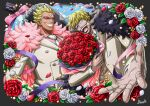 2boys absurdres alternate_costume alternate_hairstyle blonde_hair bossa bouquet bow bowtie brothers cigarette cravat donquixote_doflamingo donquixote_rocinante feather_boa flower foreshortening formal highres holding holding_bouquet long_sleeves male_focus multiple_boys official_style one_piece petals rose rose_petals short_hair siblings smile smoke smoking suit sunglasses white_suit