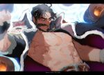 1boy abs bara beard belt black_hair blurry cannon cape chest_hair clenched_hand edward_teach_(fate/grand_order) facial_hair fate_(series) fingerless_gloves gloves grin letterboxed looking_at_viewer male_focus mustache navel omuraisusyougunn red_eyes smile upper_body