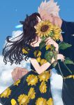1boy 1girl archer belt_buckle black_bow black_dress black_hair black_pants black_shirt blue_sky bow bra_strap buckle closed_eyes clouds collarbone collared_shirt couple day dress dress_shirt fate/stay_night fate_(series) floating_hair floral_print flower hair_bow hetero highres holding holding_flower kiss long_hair outdoors pants print_dress shimatori_(sanyyyy) shiny shiny_hair shirt short_hair silver_hair sky spiky_hair sundress sunflower tohsaka_rin twintails very_long_hair wing_collar yellow_belt yellow_flower