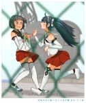 2girls bare_shoulders black_eyes black_hair blue_eyes blue_hair blush brown_neckwear brown_sailor_collar commentary_request detached_sleeves eyebrows_visible_through_hair highres isuzu_(kantai_collection) kantai_collection kitsuneno_denpachi long_hair multiple_girls nagara_(kantai_collection) neckerchief one_side_up open_mouth pleated_skirt red_skirt sailor_collar school_uniform serafuku shoes short_hair skirt sneakers thigh-highs translation_request twintails white_footwear white_legwear white_sailor_collar