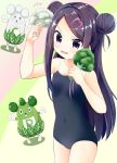 1girl arm_up bare_arms blue_swimsuit blush broccoli buck_teeth commentary_request covered_navel cowboy_shot double_bun food gloves hair_ornament heart heart_hair_ornament highres holding holding_food holding_vegetable inakami leaf long_hair multicolored multicolored_background ochikobore_fruit_tart one-piece_swimsuit open_mouth purple_hair school_swimsuit sekino_roko shiny shiny_hair signature standing swimsuit vegetable very_long_hair violet_eyes wavy_mouth whiskers white_gloves