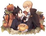 1boy 1girl animal_ears bangs black_cape black_gloves black_hair blonde_hair blue_eyes blush braid candy cape cat_ears cat_girl cat_tail center_frills closed_mouth commentary_request cookie cropped_torso eye_contact flower food frills gem gloves halloween halloween_bucket happy_halloween highres holding jack-o'-lantern juugonichi_(wheeliex2) kaguya-sama_wa_kokurasetai_~tensai-tachi_no_renai_zunousen~ long_sleeves looking_at_another mouth_hold orange_flower pumpkin red_eyes red_ribbon ribbon shinomiya_kaguya shirogane_miyuki short_hair smile sweatdrop tail vampire_costume white_gloves white_neckwear