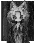 1other androgynous animal_ears big_hair border closed_mouth dog_tags dot_nose greyscale highres jacket looking_at_viewer medium_hair monochrome original shima_(wansyon144) solo upper_body white_border