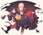 1boy 1girl :d animal_ears bangs bat black_cape black_dress black_hair blonde_hair blue_eyes blush braid candy cape carrying cat_ears cat_girl center_frills commentary_request dress fang floating_cape food frills gem hair_ribbon halloween halloween_bucket halloween_costume high_heels highres juugonichi_(wheeliex2) kaguya-sama_wa_kokurasetai_~tensai-tachi_no_renai_zunousen~ long_sleeves open_mouth princess_carry red_dress red_eyes red_footwear red_ribbon ribbon shinomiya_kaguya shirogane_miyuki shoes short_hair smile tail vampire white_neckwear