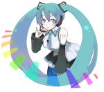 blue_eyes blue_hair detached_sleeves hatsune_miku long_hair necktie oza_watto thighhighs tongue twintails vocaloid