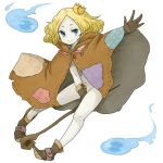 blonde_hair blue_eyes boots cloak covering covering_crotch crown gloves hitodama ki_ga_tsukeba_kedama lich monster_girl navel no_panties original short_hair staff