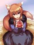 apple apples brown_hair fang food fruit hisahiko holding holding_fruit holo long_hair red_eyes spice_and_wolf tail wolf_ears