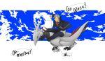 1boy aron english flying pokemon pokemon_(creature) pokemon_(game) pokemon_rse riding silver_hair skarmory smile speech_bubble taoru_(t_kiji) tsuwabuki_daigo