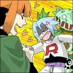 1boy 1girl artist_request blue_hair border cacnea carnivine closed_eyes gym_leader heart kojirou_(pokemon) lowres natane_(pokemon) oekaki orange_hair pokemon pokemon_(anime) pokemon_(creature) pokemon_(game) pokemon_dppt team_rocket