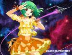 green_hair macross macross_frontier mecha ranka_lee red_eyes ribbon s.m.s. space vf-25