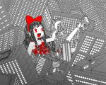 bad_id barefoot black_hair bow building buildings city dress giant giantess hair_bow happy pac-man_eyes patterned red_eyes ribbon ribbons