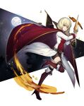 1girl belt belt_buckle bike_shorts black_legwear blonde_hair boots buckle buckler cape coattails commentary drill_hair erika_wagner fire full_body full_moon high_heel_boots high_heels highres holding holding_shield holding_sword holding_weapon looking_at_viewer medium_hair moon nvalee red_cape red_eyes red_footwear second-party_source shield short_sword solo stiletto_heels sword textless thigh-highs thigh_boots thighhighs_under_boots twin_drills under_night_in-birth under_night_in-birth_exe:late[st] uniform weapon
