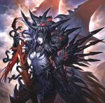 1girl armor black_armor black_hair breasts demon_girl glowing helm helmet holding holding_sword holding_weapon huge_weapon large_breasts lipstick long_hair makeup nariann photoshop_(medium) pixiv_fantasia pixiv_fantasia_1 pointy_ears snake solo spikes sword under_boob weapon white_skin wings yellow_eyes