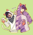 2boys :d animal_costume animal_ears arms_up black_hair cat_costume cat_ears cat_paws cat_tail checkered checkered_scarf commentary_request cropped_torso danganronpa fake_animal_ears fake_tail fang green_background hair_between_eyes hand_up hood hoodie looking_at_viewer male_focus momota_kaito multiple_boys nagi_to_(kennkenn) new_danganronpa_v3 open_mouth ouma_kokichi paws purple_hair scarf simple_background smile tail translation_request violet_eyes white_hoodie