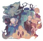 3boys 6+girls adjusting_eyewear ahoge bangs black-framed_eyewear black_jacket black_neckwear blonde_hair blouse blue_eyes blue_shirt bob_cut bow bowtie brooch brown_blouse brown_eyes brown_hair brown_vest buttons character_request closed_eyes closed_mouth covered_face dark_persona darkness dated demon extra_eyes facial_hair hair_over_one_eye hand_to_own_mouth hands_together jacket jewelry kanon_(rsl) kiel-d-01 layered_clothing long_hair long_sleeves looking_at_viewer mask monster multiple_boys multiple_girls mustache necktie old_man open_mouth pocket_watch puffy_long_sleeves puffy_short_sleeves puffy_sleeves ragnarok_online ring roman_numerals round_eyewear shirt short_hair short_sleeves signature simple_background striped striped_vest suit_jacket test_tube upper_body vest watch watermark web_address white_background white_blouse white_hair white_shirt wing_collar