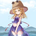 1girl bangs blonde_hair blue_sky blush brown_headwear camisole closed_mouth clouds commentary_request day eyebrows_visible_through_hair flying_sweatdrops hair_between_eyes hair_ribbon hand_up hat highres long_hair moriya_suwako mountain nose_blush outdoors pleated_skirt purple_camisole purple_skirt red_ribbon ribbon ryogo skirt sky solo sweat thigh-highs touhou water white_legwear yellow_eyes