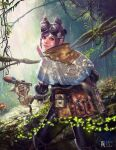 1girl 1other adam_ryu_ford black_hair black_pants book capelet commentary_request dappled_sunlight day felyne folded_ponytail forest from_behind goggles goggles_on_head handler_(monster_hunter_world) highres lips looking_back monster_hunter monster_hunter:_world nature nose pants pouch rainforest short_hair smile solo_focus sunlight whiskers