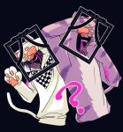 2boys ? animal_costume animal_ears arms_up black_background black_hair blood blood_from_mouth cat_costume cat_ears cat_paws cat_tail checkered checkered_scarf commentary_request covering_eyes cropped_torso danganronpa fake_animal_ears fake_tail grin hair_between_eyes hand_up hood hoodie iei looking_at_viewer male_focus momota_kaito multiple_boys nagi_to_(kennkenn) new_danganronpa_v3 ouma_kokichi paws pink_blood purple_hair scarf simple_background smile spoilers tail translation_request white_hoodie