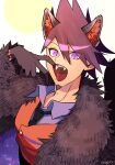 1boy animal_ears artist_name bangs black_neckwear blue_shirt brown_fur collared_shirt commentary_request danganronpa fangs finger_in_mouth fur fur_coat halloween_costume long_hair male_focus momota_kaito nagi_to_(kennkenn) necktie new_danganronpa_v3 open_mouth pink_hair shiny shiny_hair shirt solo space_print spiky_hair starry_sky_print upper_body vest violet_eyes wolf_ears