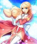 1girl bangs blonde_hair blue_eyes blush bow clouds commentary cowboy_shot cross dress dutch_angle eyebrows_visible_through_hair eyes_visible_through_hair garter_straps hair_between_eyes hands_together high_priest_(ragnarok_online) juliet_sleeves large_bow leona_(pixiv) long_hair long_sleeves looking_at_viewer low-tied_long_hair margaretha_solin open_mouth puffy_sleeves ragnarok_online red_dress sash shiny shiny_hair sky solo sparkle standing thigh-highs two-tone_dress upper_teeth white_bow white_dress white_legwear