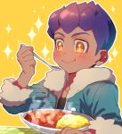 1boy :t blush closed_mouth commentary_request curry dark_skin dark_skinned_male eating food fur-trimmed_jacket fur_trim hand_up highres holding holding_spoon hop_(pokemon) jacket male_focus outline pokemon pokemon_(game) pokemon_swsh purple_hair radioz shirt short_hair smile solo sparkle sparkling_eyes spoon steam yellow_background yellow_eyes