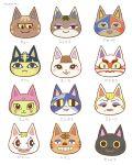 4boys 6+girls :3 animal_ears artist_name asekusa_(doubutsu_no_mori) ayu_(mog) black_eyes blonde_hair blue_eyes blue_hair blush blush_stickers brown_hair buck_teeth cat_ears caviar_(doubutsu_no_mori) character_name chocolat_(doubutsu_no_mori) choi_(doubutsu_no_mori) closed_mouth commentary_request doubutsu_no_mori eyeshadow face fangs furry hair_ornament half-closed_eyes happy jane_(doubutsu_no_mori) jinpei_(doubutsu_no_mori) kabukichi_(doubutsu_no_mori) light_blush lipstick looking_at_viewer looking_to_the_side looking_up makeup mask mole mole_under_mouth multiple_boys multiple_girls myau_(doubutsu_no_mori) nile_(doubutsu_no_mori) pierre_(doubutsu_no_mori) pink_eyeshadow purple_eyeshadow red_lipstick sacchi_(doubutsu_no_mori) short_hair signature simple_background smile snake_hair_ornament teeth torako_(doubutsu_no_mori) whiskers white_background yellow_sclera