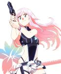 1girl asymmetrical_clothes belt black_panties blue_eyes bodysuit bracelet closed_mouth commentary cowboy_shot energy_gun eyebrows_visible_through_hair floral_background german_text gun highleg highleg_panties highres holding holding_gun holding_weapon holster jewelry looking_at_viewer nijisanji panties pink_hair shorts side_cutout simple_background sleeveless smile solo standing tsuru_(clainman) underwear virtual_youtuber weapon white_background white_belt white_shorts wind yuuhi_riri zipper