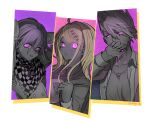 1girl 2boys ahoge akamatsu_kaede artist_name bangs blonde_hair blood blood_from_mouth breasts checkered checkered_scarf collarbone commentary_request covering_mouth danganronpa glowing glowing_eyes hair_between_eyes hair_ornament large_breasts looking_at_viewer momota_kaito multiple_boys musical_note musical_note_hair_ornament nagi_to_(kennkenn) new_danganronpa_v3 open_clothes open_shirt ouma_kokichi pink_background pink_blood pink_eyes scarf shirt spiky_hair spot_color white_background