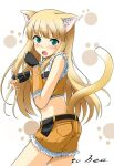 1girl animal_ear_fluff animal_ears back bangs belt black_gloves blonde_hair blunt_bangs blush cat_ears cat_girl cat_tail cecil_damon commentary_request cowboy_shot embarrassed eyebrows_visible_through_hair fang fingerless_gloves fur-trimmed_crop_top fur-trimmed_gloves fur-trimmed_shorts fur_trim gloves green_eyes hair_between_eyes kemonomimi_mode kuroma_(no_plan) long_hair looking_at_viewer looking_back open_mouth paw_pose paw_print_background ragnarok_online short_hair short_shorts shorts simple_background sniper_(ragnarok_online) solo standing tail white_background yellow_gloves yellow_shorts