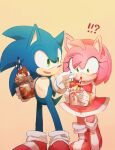 !? 1boy 1girl amy_rose animal_ears boots dress drinking_straw embarrassed furry gloves green_eyes hairband hedgehog_ears highres holding milkshake msg01 open_mouth red_dress red_footwear red_hairband shoes smile sneakers sonic sonic_the_hedgehog standing white_gloves wide-eyed