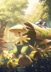 absurdres artist_name berry_(pokemon) bird breloom brown_eyes closed_eyes commentary_request day gen_3_pokemon grass highres legna_(legna_161cm) mushroom no_humans open_mouth oran_berry outdoors pokemon pokemon_(creature) shroomish sitting taillow tongue tree watermark