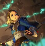 1girl bangs blue_eyes braid cape capelet cave crown_braid fingerless_gloves gloves hair_ornament hairclip highres pointy_ears princess_zelda sawada2 short_hair solo surprised the_legend_of_zelda the_legend_of_zelda:_breath_of_the_wild the_legend_of_zelda:_breath_of_the_wild_2 torch