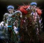 2boys abs armor bare_chest beads black_background blue_hair bodypaint bodysuit cape claws cowboy_shot cu_chulainn_(fate)_(all) cu_chulainn_(fate/grand_order) dark_persona earrings elbow_gloves facepaint fate/grand_order fate/kaleid_liner_prisma_illya fate_(series) fur gloves grin hair_beads hair_ornament highres hood hood_down jewelry kim_yura_(goddess_mechanic) lancer_(prisma_illya) long_hair male_focus mask monster_boy multiple_boys multiple_persona muscle pants pauldrons ponytail red_eyes sharp_teeth shirtless shoulder_armor simple_background skin_tight smile spikes spiky_hair tail teeth twitter_username type-moon