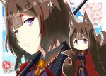 1girl amagi_(azur_lane) animal_ears azur_lane brown_hair cherry_blossoms chibi commentary_request eyeshadow fox_ears fox_girl fox_tail grey_eyes japanese_clothes kyuubi long_hair looking_at_viewer makeup multiple_tails signature smile solo tail taisa_(kari) thick_eyebrows twitter_username wide_sleeves zoom_layer