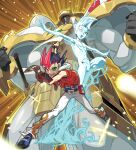 2boys absurdres alien arm_up armor astral_(yu-gi-oh!) bare_shoulders belt black_hair blue_footwear blue_hair bracelet brown_gloves card clenched_hands duel_disk duel_monster fingerless_gloves fingernails gloves glowing hico highres holding holding_card hood hood_down huge_filesize jacket jewelry light_rays male_focus multicolored multicolored_hair multiple_boys muscle navel nude number_39_utopia open_clothes open_jacket open_mouth pauldrons purple_tongue red_eyes red_jacket redhead scabbard sheath sheathed shoulder_armor single_glove smile sparkle sword teeth tongue tsukumo_yuuma visor weapon white_legwear yu-gi-oh! yu-gi-oh!_zexal