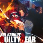 1boy absurdres belt brown_eyes brown_hair copyright_name fire guilty_gear guilty_gear_strive headband hichi highres holding holding_weapon jacket lightning long_hair looking_at_viewer male_focus muscle ponytail red_jacket signature smile sol_badguy solo sword weapon