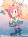 1girl amy_rose blue_dress blue_footwear boots character_doll closed_mouth dress floral_print full_body gloves green_eyes hairband holding holding_umbrella jewelry looking_at_viewer msg01 rain ring smile solo sonic sonic_the_hedgehog standing umbrella white_gloves