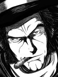 1boy black_hair black_headwear cigar cleft_chin greyscale hat looking_at_viewer lue_(heizo) monochrome mouth_hold portrait sentou_mecha_xabungle serious solo timp_sharon