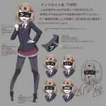>_< 1girl :d :| android black_jacket blonde_hair blush bob_cut character_request closed_mouth collared_shirt concept_art copyright_request expressions gino grey_legwear hand_on_hip hand_up highres jacket looking_at_viewer miniskirt multiple_views necktie open_mouth pigeon-toed pleated_skirt red_skirt robot school_uniform shirt skirt smile striped striped_neckwear thigh-highs translation_request v-shaped_eyebrows virtual_youtuber visor white_shirt wide-eyed wing_collar zettai_ryouiki