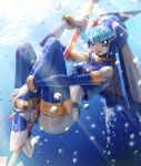 1girl absurdres air_bubble android between_legs blue_eyes blush bodysuit breasts bubble helmet high_heels highres holding holding_weapon hoshi_mikan leviathan_(rockman) open_mouth polearm rockman rockman_zero solo spear thigh-highs tongue tongue_out underwater weapon