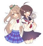 2girls :d ahoge bangs blue_skirt blush bow brown_eyes brown_hair character_name commentary_request cropped_legs crossover dalrye_v3 danganronpa green_bow hair_bow long_hair looking_at_viewer love_live! microphone minami_kotori multiple_girls naegi_komaru one_side_up open_mouth plaid plaid_skirt pleated_skirt sailor_collar school_uniform seiyuu_connection serafuku shirt shirt_tucked_in short_hair short_sleeves simple_background skirt smile uchida_aya white_background white_shirt zettai_zetsubou_shoujo