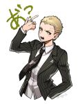 1boy arm_up artist_name bangs black_neckwear blonde_hair collared_shirt cropped_torso danganronpa freckles kuzuryuu_fuyuhiko looking_at_viewer male_focus nagi_to_(kennkenn) necktie open_mouth shirt short_hair simple_background solo striped super_danganronpa_2 vertical_stripes very_short_hair white_background white_shirt yakuza yellow_eyes