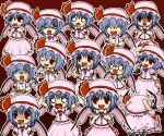 angry cowering crying dress hands_together hat hat_ribbon mob_cap multiple_girls pink_dress pointing pose red_background remilia_scarlet ribbon scared spork tears touhou uda_tetla vampire