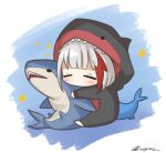 1girl admiral_graf_spee_(azur_lane) artist_request azur_lane chibi fish_tail full_body highres holding holding_stuffed_toy multicolored_hair redhead shark shark_tail short_hair signature sleeping solo streaked_hair stuffed_animal stuffed_shark stuffed_toy tail white_hair