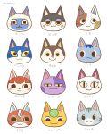 5boys 6+girls :3 animal_ears artist_name ayu_(mog) bantamu_(doubutsu_no_mori) binta_(doubutsu_no_mori) black_eyes blue_eyeshadow blue_hair blush blush_stickers bouquet_(doubutsu_no_mori) cat_ears character_name chasu_(doubutsu_no_mori) closed_mouth commentary_request doubutsu_no_mori eyeshadow face furry half-closed_eyes happy helmet hyakupaa_(doubutsu_no_mori) ichi_go_(doubutsu_no_mori) leaf light_blush looking_at_viewer looking_down looking_to_the_side makeup maru_(doubutsu_no_mori) mikacchi_(doubutsu_no_mori) mole mole_under_eye multiple_boys multiple_girls nikoban_(doubutsu_no_mori) number olivia_(doubutsu_no_mori) ramune_(doubutsu_no_mori) red_headwear redhead short_hair signature simple_background slit_pupils smile tama_(doubutsu_no_mori) white_background yellow_sclera