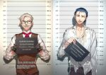 2boys alternate_costume collarbone collared_shirt cowboy_shot cravat facial_hair fate/grand_order fate_(series) formal height_chart highres holding holding_sign james_moriarty_(fate/grand_order) male_focus messy_hair mugshot multiple_boys mustache old_man open_clothes open_shirt redrop sherlock_holmes_(fate/grand_order) shirt sign silver_hair smirk tired translation_request vest white_shirt