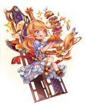 1girl :d apron bangs blonde_hair blue_eyes chair charlotta_fenia commentary_request crown cup dress food fork french_fries full_body granblue_fantasy hamburger harvin highres holding ketchup long_hair nigo omurice open_mouth pancake plate pointy_ears puffy_short_sleeves puffy_sleeves short_sleeves smile solo sparkle spoon striped tray waist_apron