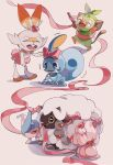 alcremie blue_eyes bow closed_eyes commentary_request fang gen_8_pokemon grookey happy hatenna heart highres holding holding_bow holding_stick no_humans open_mouth pink_ribbon pink_skirt pokemon pokemon_(creature) ribbon scorbunny skirt sobble standing stick tearing_up toes tokeru tongue trembling wooloo
