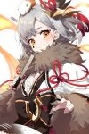 1girl absurdres animal animal_ears animal_on_head azur_lane bangs blush board_game breasts cheunbyeol closed_fan extra_ears eyebrows_visible_through_hair facial_mark fan folding_fan fur-trimmed_sleeves fur_trim go grey_hair hair_ornament hamster highres holding holding_fan japanese_clothes jewelry obi on_head orange_eyes sash short_hair simple_background small_breasts smile solo sparkle suzutsuki_(azur_lane) teardrop upper_body white_background